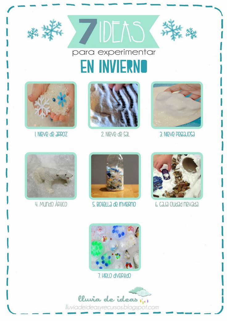 Experimentar en invierno      http://lluviadeideasyrecursos.blogspot.com.es/2014/01/recursos-ideas-para-experimentar-en.html