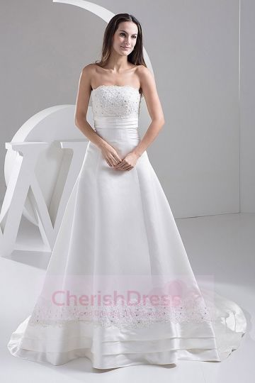 Strapless Lace Beading A-line Chapel Train Ribbon Wedding Dress - Wedding Dresses - WEDDING APPAREL