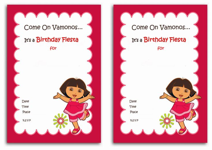 Download Now FREE 1st Dora Birthday Invitations Wording