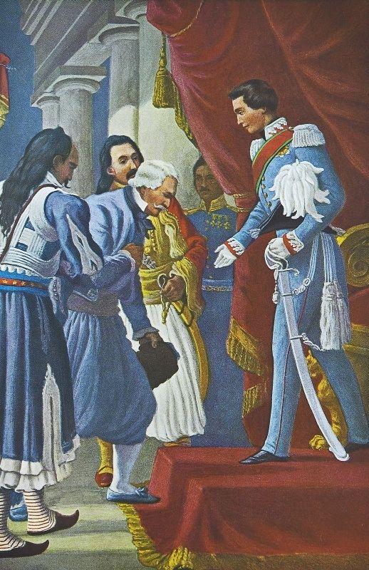 Οι αντιπρόσωποι των Ελλήνων εις Μόναχον (Μιαούλης, Μπότσαρης και Πλαπούτας) στις 15 Οκτωβρίου 1832