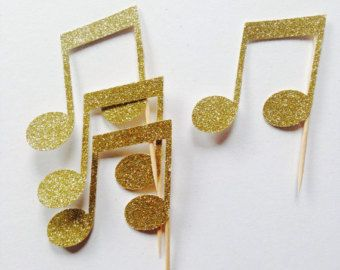 Selecciones de música Nota Cupcake Toppers por MakeItMerryShop