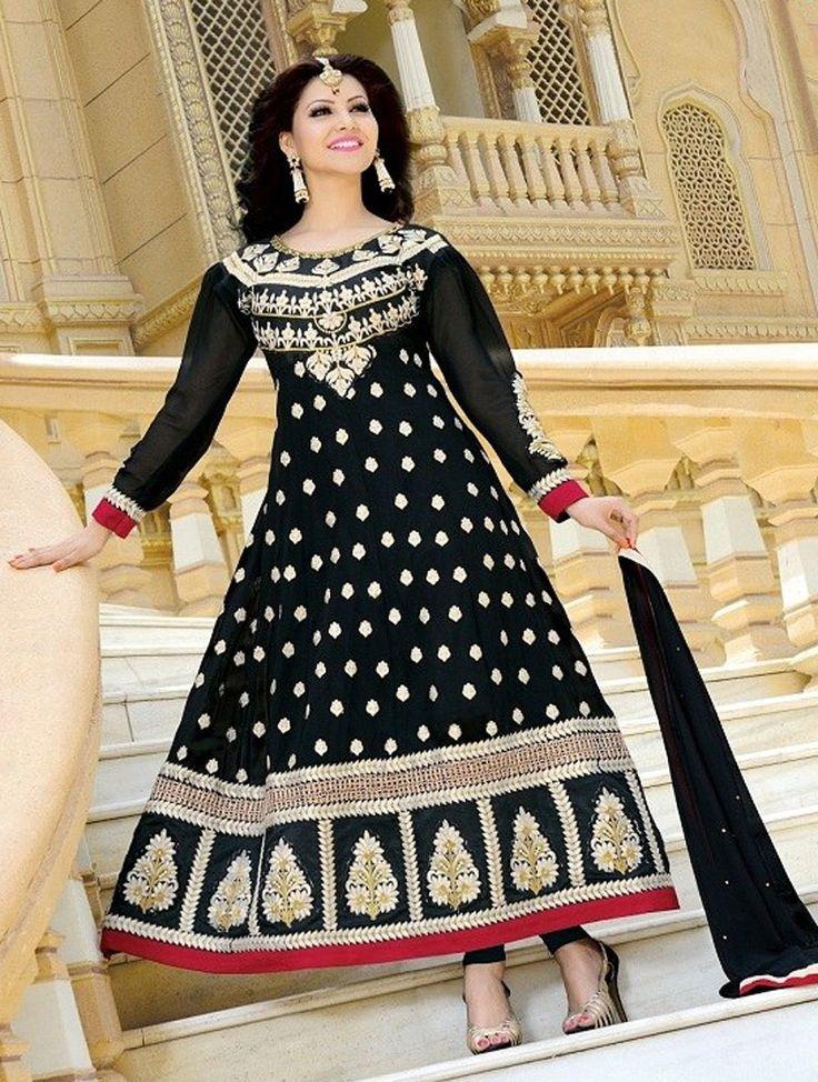 Black Fancy Embroidered Anarkali Suit