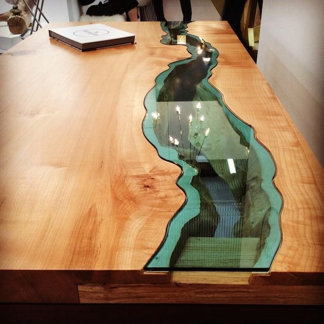 Artist Creates Wooden Tables With Glass Rivers And Lakes Running Through Them