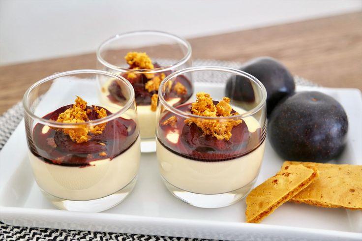 Vanilla Panna Cotta, Marsala Poached Plums and Honeycomb Shards
