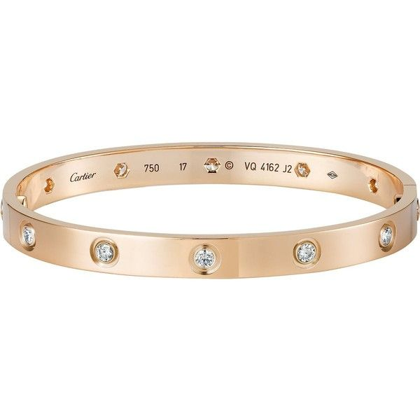 CARTIER Love 18ct pink-gold and diamond bracelet found on Polyvore featuring jewelry, bracelets, accessories, bangles, gold, red gold jewelry, diamond bracelet bangle, rose gold bangle bracelet, diamond bangle bracelet and studded jewelry