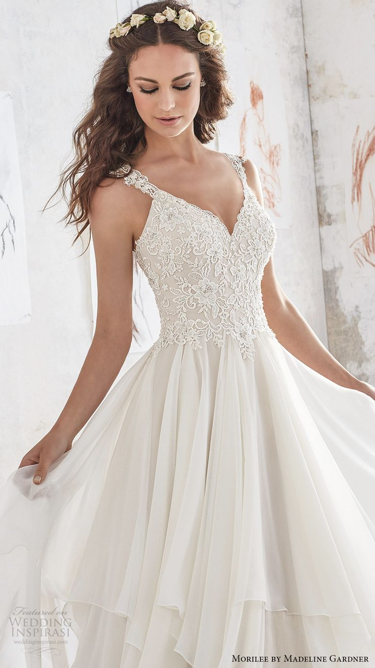 morilee spring 2017 bridal sleeveless strap sweetheart neckline heavily embellished bodice layered skirt romantic modified a  line wedding dress illusion lace back chapel train (5512) zv