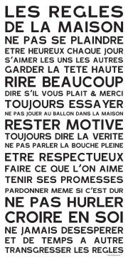 Tableau mots Home Rules Blanc