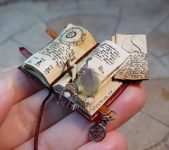 Miniature Open Spell Book by evminiatures via Etsy.
