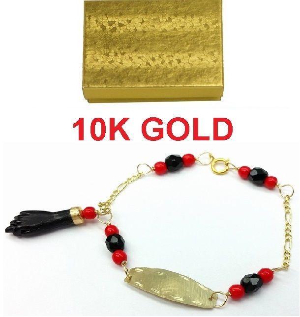 NEW 10K GOLD AZABACHE BABY BRACELET ( PROTECTION FROM EVIL EYE) Mano de Azabache #ManodeAzabache #azabache #babyjewelry