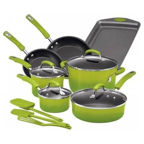Rachael Ray - 14-Piece Cookware Set - Green Gradient