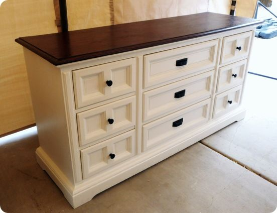 This is strikingly similar to the dresser we have in our Master bedroom that I picked up from the Goodwill - knew I'd love the darkwood top and the rest painted - plus it's a great compromise for the men in our lives who hate painted wood - I think this is beautiful!