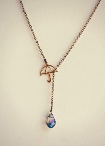 cute umbrellas gold necklace