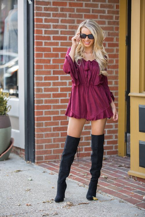 This unique romper is sure to steal your heart! From the stunning wine color to the soft velvet material, it's a cozy way to wear a gorgeous romper!