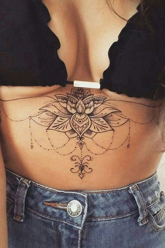 Cool Unique Lotus Chandelier Mandala Sternum Tattoo Ideas for Women – www.MyBodiArt.com