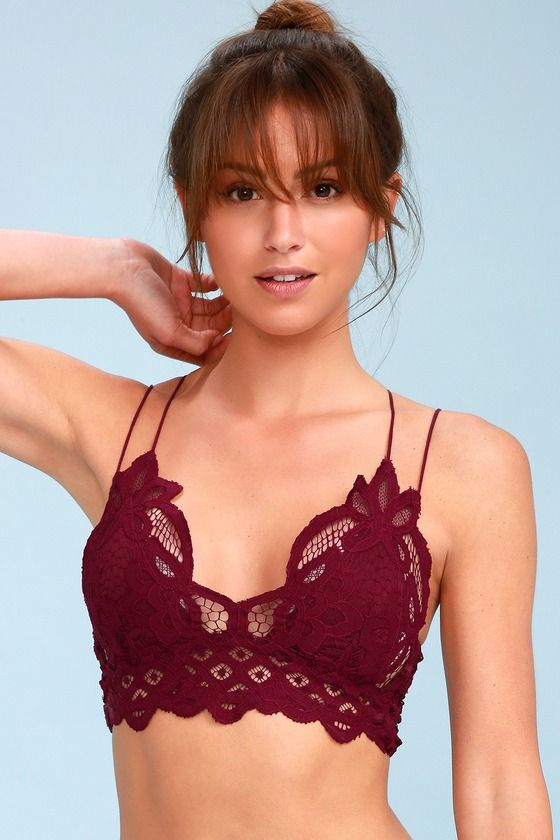 857403c97edf27 Add a little sweetness to your day with the Free People Adella Burgundy Lace  Bralette! Romantic