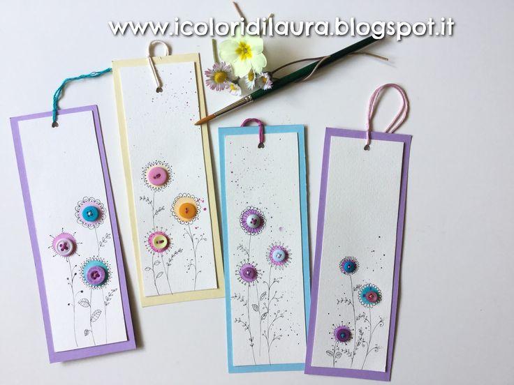icoloridilaura: Come realizzare un segnalibro per la festa della mamma con acquerelli e bottoni...tutorial di primavera