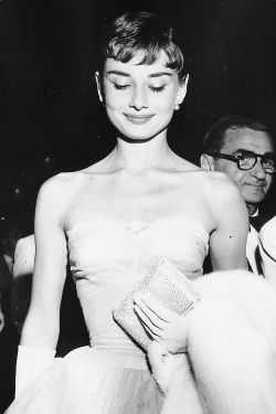 Audrey Hepburn at the Roman Holiday premiere on September 14, 1953