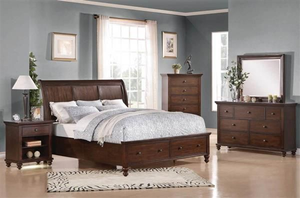 Aceline Coastal Brown Cherry Wood Master Bedroom Set