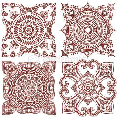 Tatouage au henné, Motif, Mandala, Carrelage, Motif floral Illustration vectorielle libre de droits