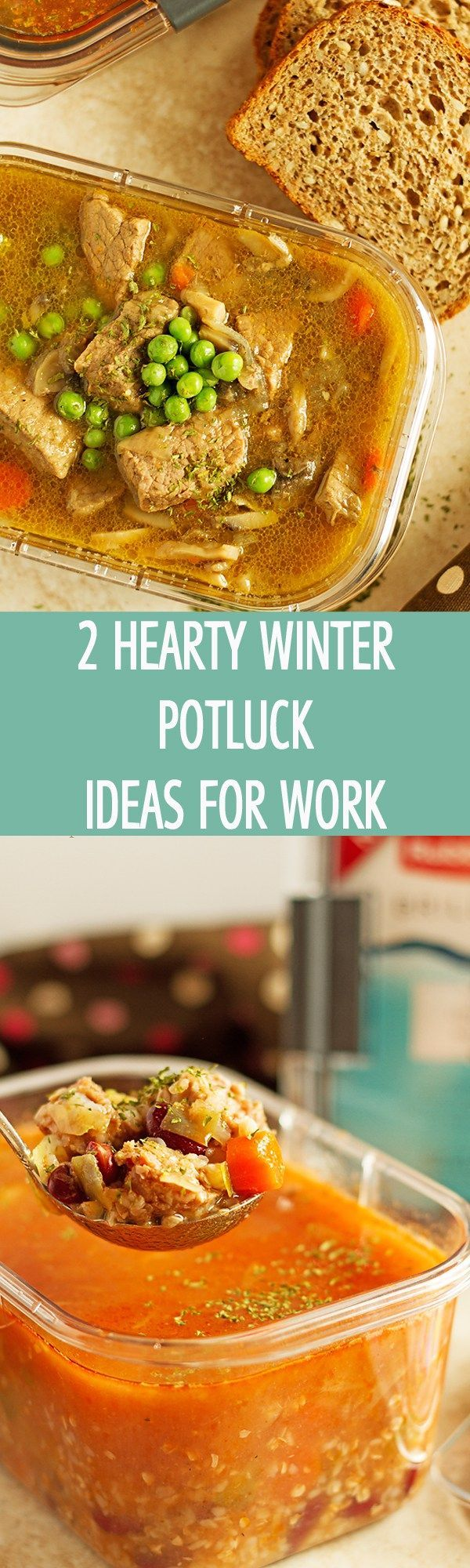 2 hearty winter potluck ideas for work to please the crowd! 2 recipes included: beef stew with onions and soup packed with sausage, buckwheat and beans by ilonaspassion.com I @ilonaspassion #ad #ShareYourBrilliance #CollectiveBias