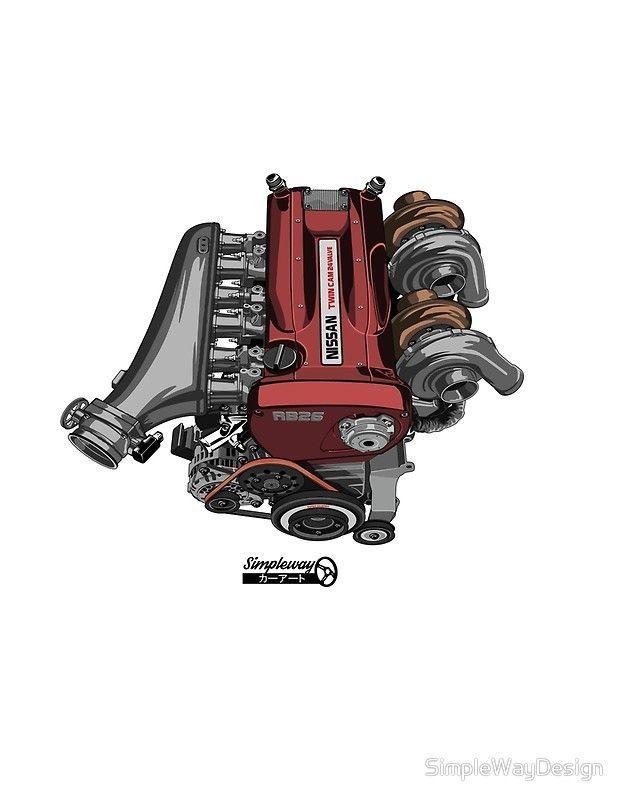 RB26DETT Skyline GT-R Motor | Poster – #° Art № 11#B¡I{e & C4r Illustrations – #11BIe #Art #C4r #GTR #Illustrations