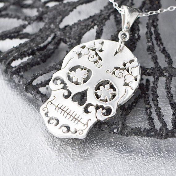 Sterling Silver Sugar Skull Pendant Sugar #sugarskulls #dayofthedead #mysugarskulls #skulls #mexicanskulls # #sugarskull