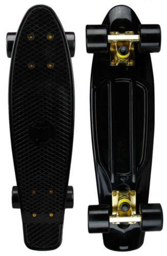 "Mayhem Cruiser Board 22"" x 6"" Skateboard - Black Gold Mayhem Skateboard Black Gold-Great board for cruising and hill bombing! Old school and much better than any other plastic board. Black deck size 2"