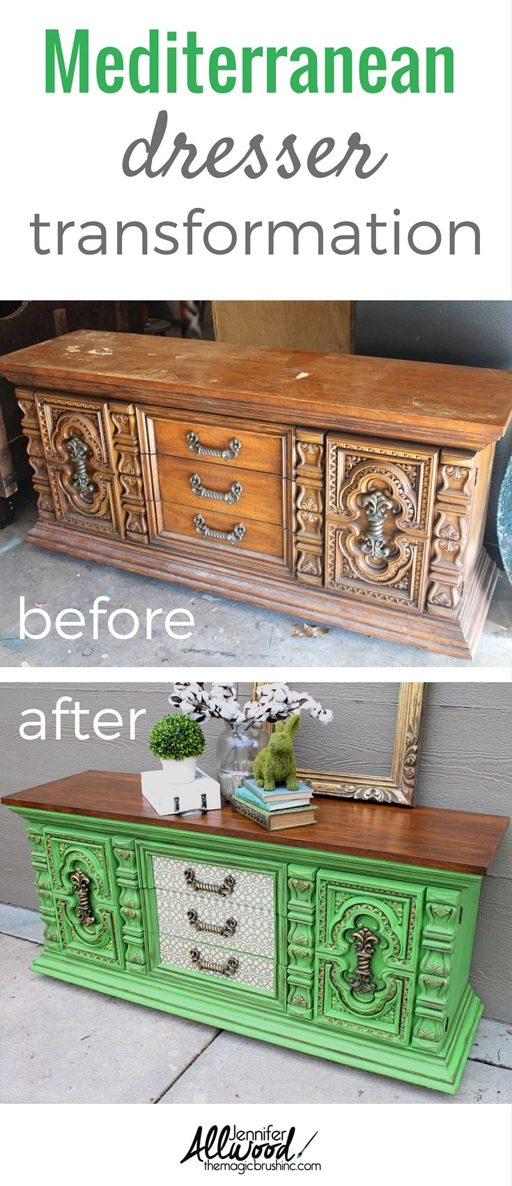 A bold Mediterranean dresser transformation! Check out this furniture makeover using a green apple color and decoupaged tissued drawers. More Painting tips, color advice and DIY projects at theMagicBrushinc.com