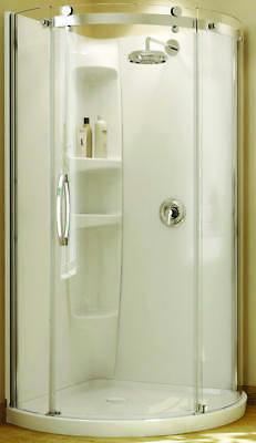 maax 2piece round shower wall set acrylic