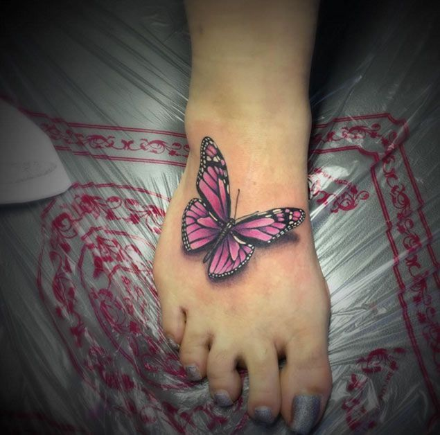 Butterfly Foot Tattoo by Vicious Pink