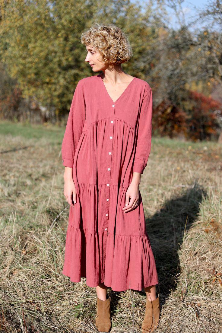 Flowy Maxi cotton dress with long sleevesOFFON CLOTHING