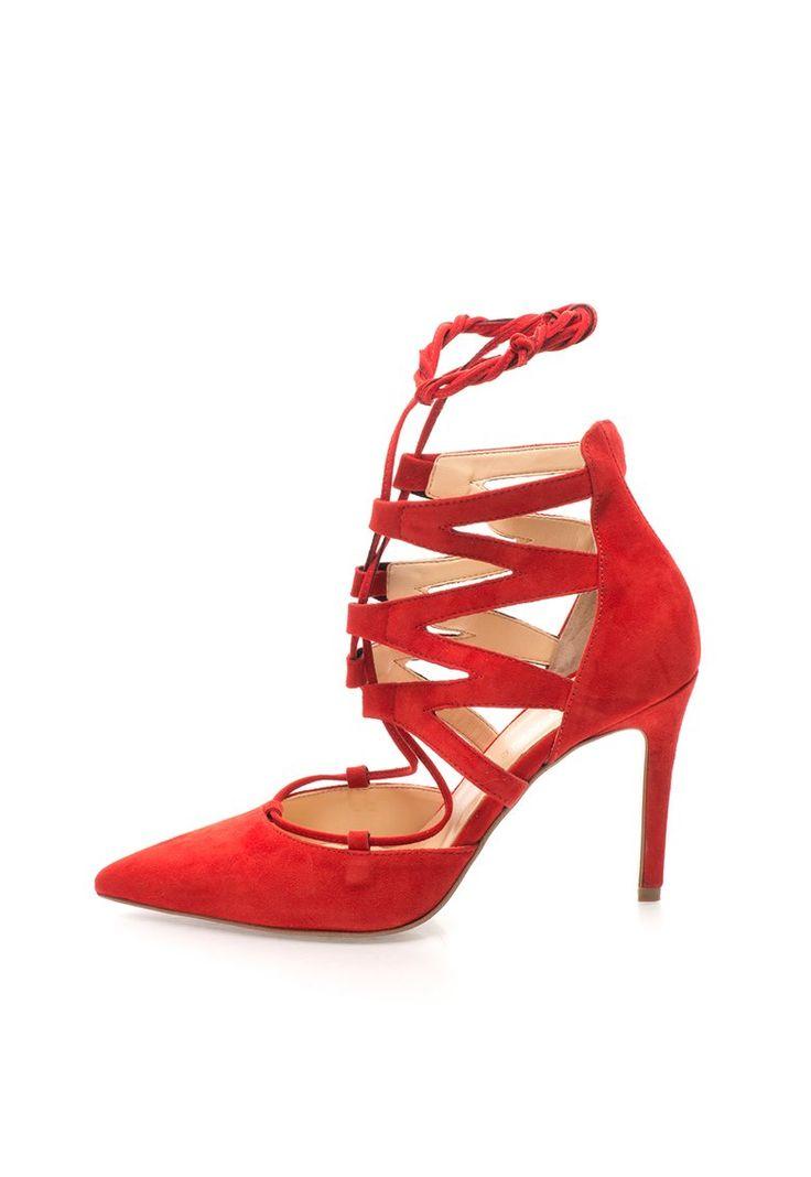 Pantofi gladiator rosii din piele intoarsa - Zee Lane