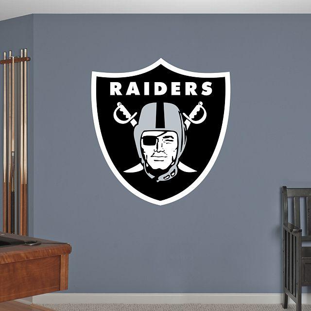 Oakland Raiders Logo REAL.BIG. Fathead – Peel & Stick Wall Graphic | Oakland Raiders Wall Decal | Sports Home Décor | Football Bedroom/Man Cave/Nursery