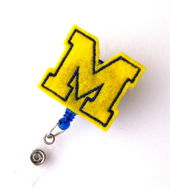 University of Michigan  Name Badge Holder  College by BadgeBlooms, $6.00Colleges Badges, Badge Reel, Badge Holders, Names Badges, Felt Badges, Rn Badges, Badges Reel, Badges Holders