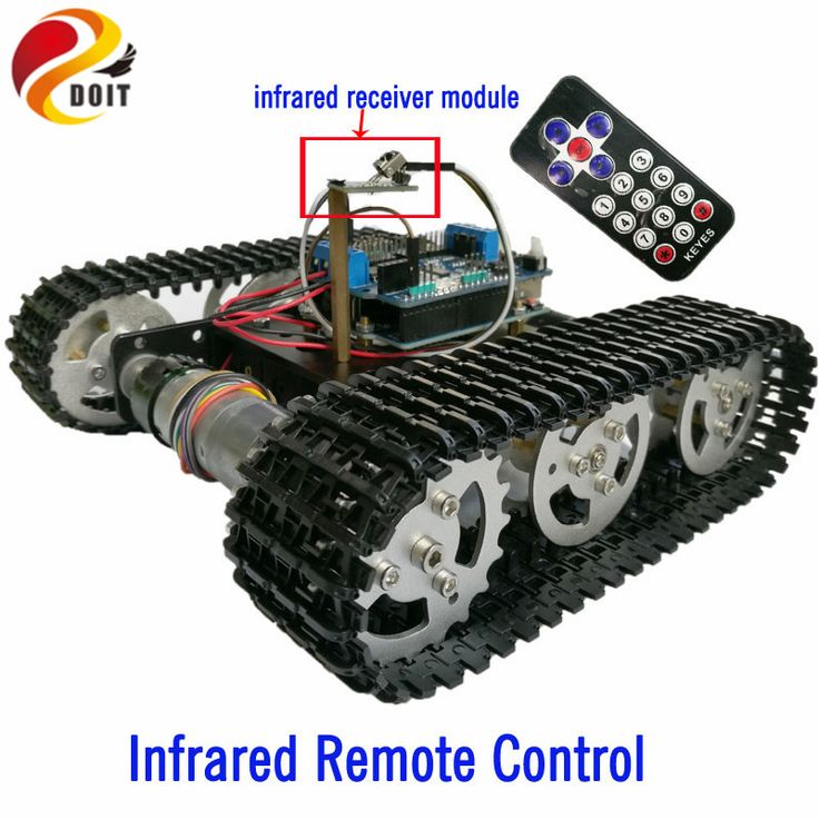 DOIT IR Remote Control Tracked Tank Chassis with Arduino UNO R3 Board+Motor Drive Shield Board by Phone for DIY Robot Project   #Affiliate