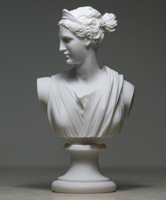 Greek Bust Of Artemis Diana Goddess Art Statue Alabaster Sculpture
