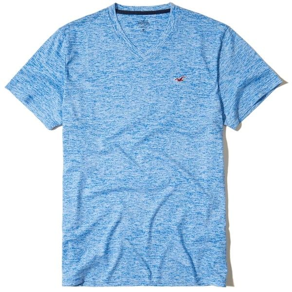 Hollister Must-Have V-Neck T-Shirt (170 ZAR) ❤ liked on Polyvore featuring men's fashion, men's clothing, men's shirts, men's t-shirts, turquoise, mens print shirts, mens slim fit shirts, mens slim fit t shirts, men's v neck t shirts and mens patterned shirts
