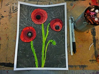 Beautiful remembrance day art... too hard for k but could maybe do something similar
