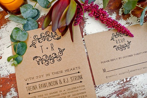 kraft paper wedding invite #rustic #fall