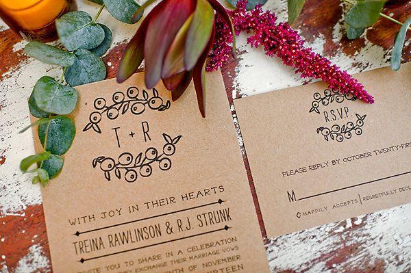 kraft paper wedding invite #rustic #fall
