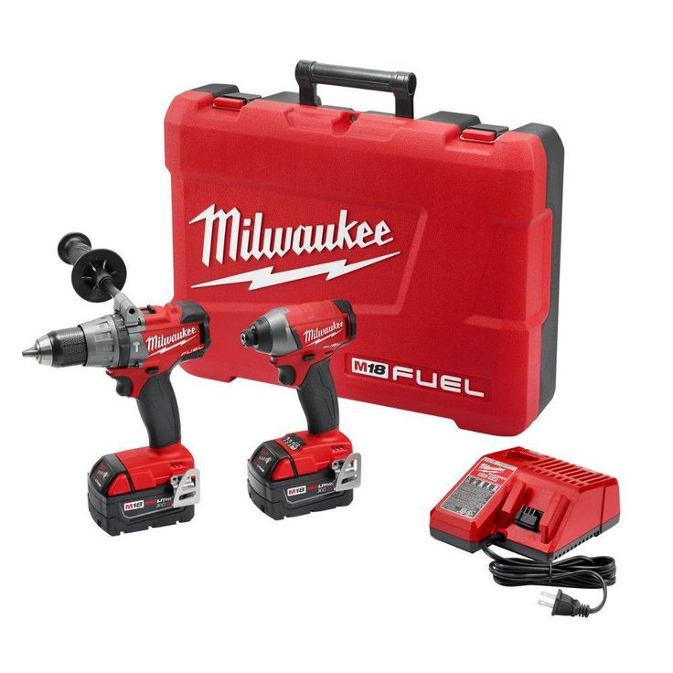Milwaukee M18 18-Volt Lithium-Ion Cordless Brushless Hammer Drill/Impact Driver Combo Kit-2897-22 - The Home Depot