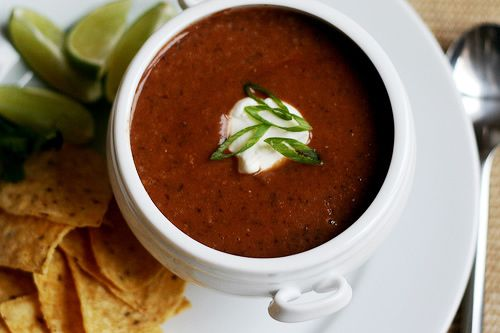 Calypso Black Bean Soup This is a spicy, fruity black bean pureed soup ...
