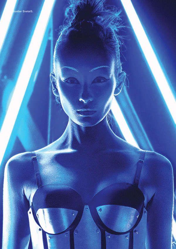 Illuminated Sci-Fi Editorials - The Awakening DEW Fashion Story is Futuristically Fierce (GALLERY)