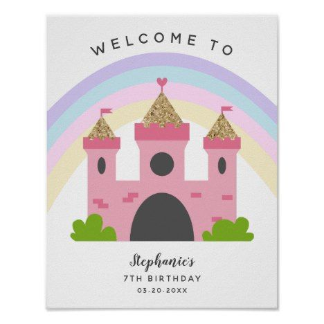 Pink Castle Princess Birthday Party Welcome Sign | Zazzle.com