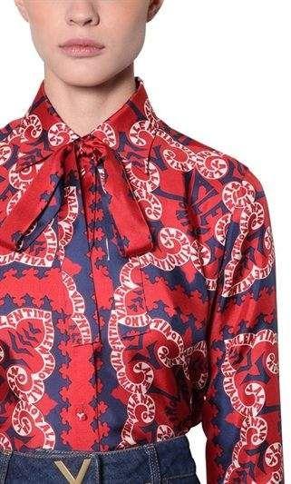 b46012144600cd Valentino Logo Printed Silk Twill Shirt #Printed#Logo#Valentino   Home Art  Painting in 2019   Twill shirt, Valentino logo, Shirts