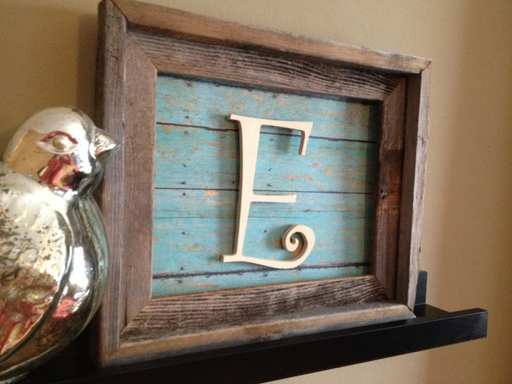 Rustic Wood Framed Art with Blue Barn-door Print Back and Wood Letter 8x10. $30.00, via Etsy.  Cute DIY idea for letter