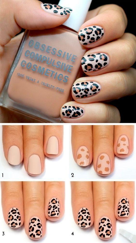 пошаговый маникюр, леопардовый маникюр, дизайн ногтей, животный принт, manicure, design nails