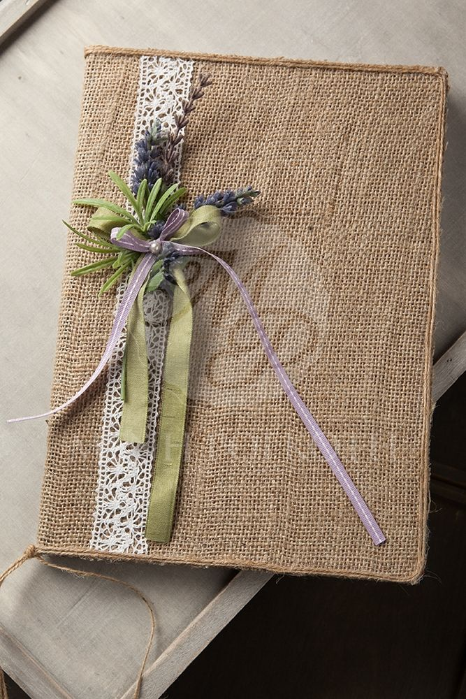 Wedding guest book with burlap and levander