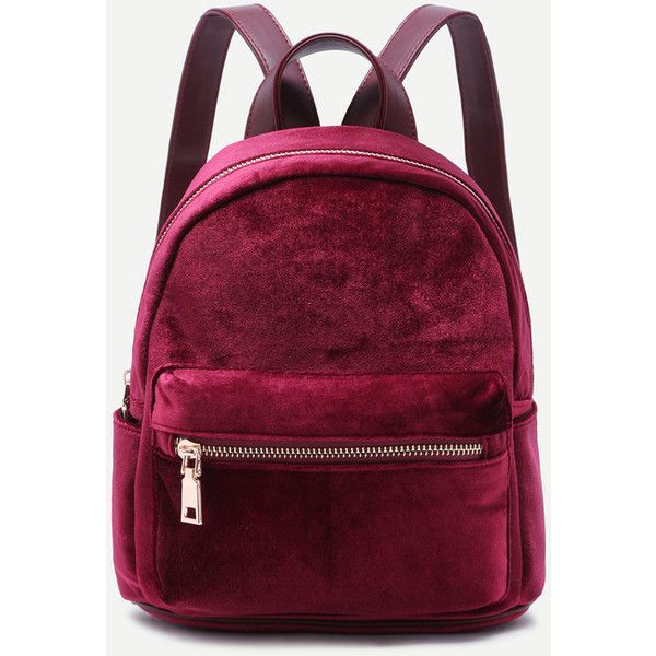Mini Metallic Zip Velvet Backpack BURGUNDY ($25) ❤ liked on Polyvore featuring bags, backpacks, burgundy, zip backpack, metallic backpack, zip bag, backpack bags and rucksack bags