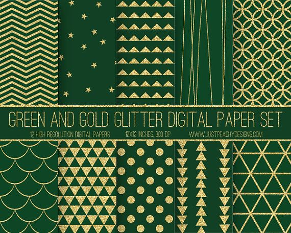 green and gold glitter christmas digital scrapbook paper